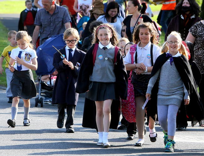 Harry Potter themed walked to school with winner Anna Shorten Pic Keith Taylor
