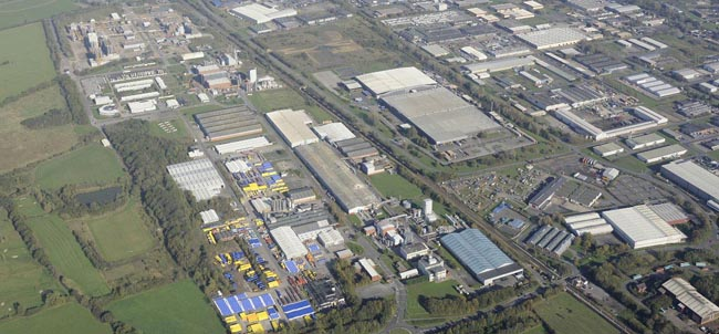 aerial shot of Aycliffe Business Park
