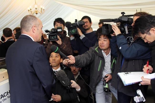 Hitachi Rail Europe executive chairman Alistair Dormer talks to the eager Japanese media