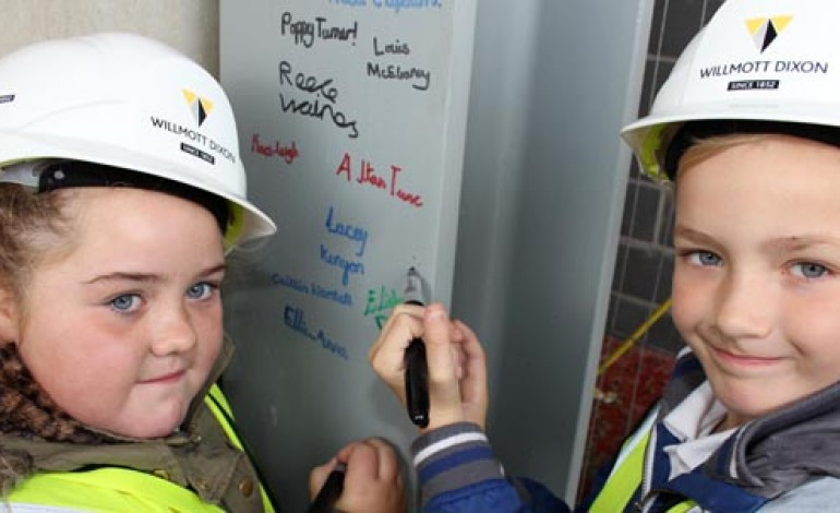 STUDENTS SIGN FINAL PIECE OF AYCLIFFE STEEL