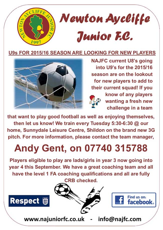 U8's going into U9's for 2015-16 Advert