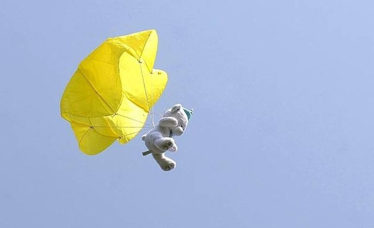 Parachuting teddy bears in Heighington!