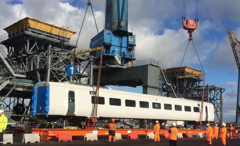 Aycliffe-bound Hitachi carriages arrive at Port of Tyne