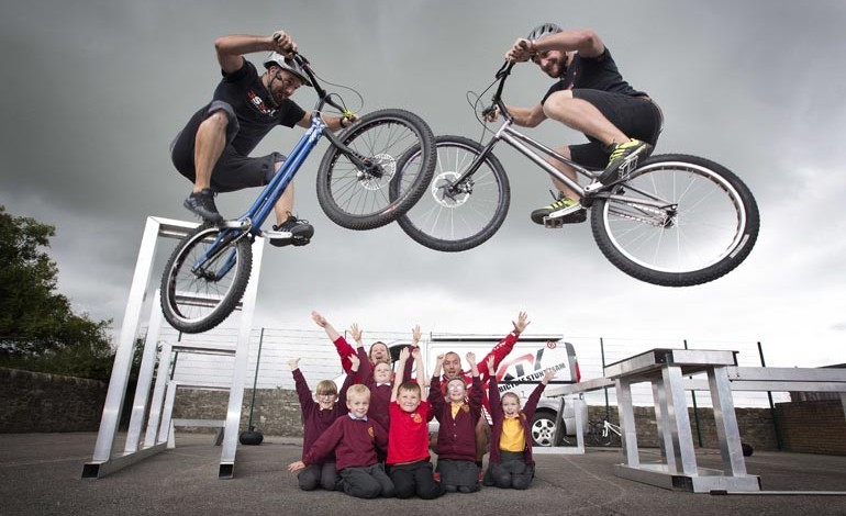 Aycliffe school St Francis treated to MEGA stunt show