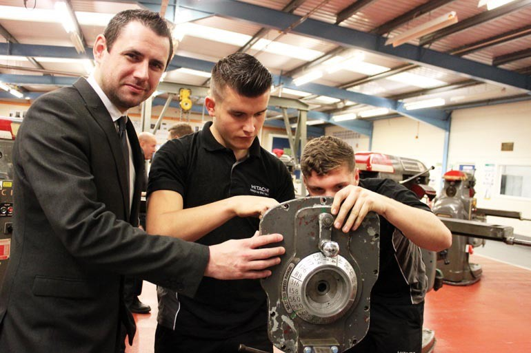 New SWDT Chief Executive Lee Childs with Hitachi technical apprentices Mitch Rookes, 18, of Hartlepool, (centre) and Callum Worrall, 19, of Darlington