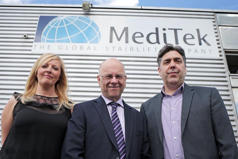 Business Durham's John Parnell (centre) with MediTek's MD Philip Carmedy-Pye and business developement manager Nikki Rotherham at the companies Newton Aycliffe site. The stairlift manufacturer is targeting new markets selling direct to UK consumers. Picture by Stuart Boulton.