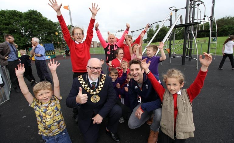 Olympian opens new Aycliffe play area