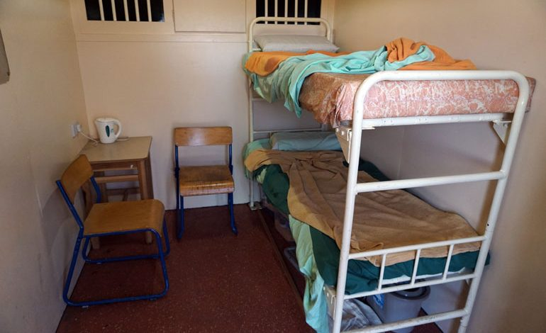 Students see mobile prison cell during lesson in law