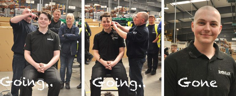 Going… going… gone! Hair-raising stunt raises £400 for charity