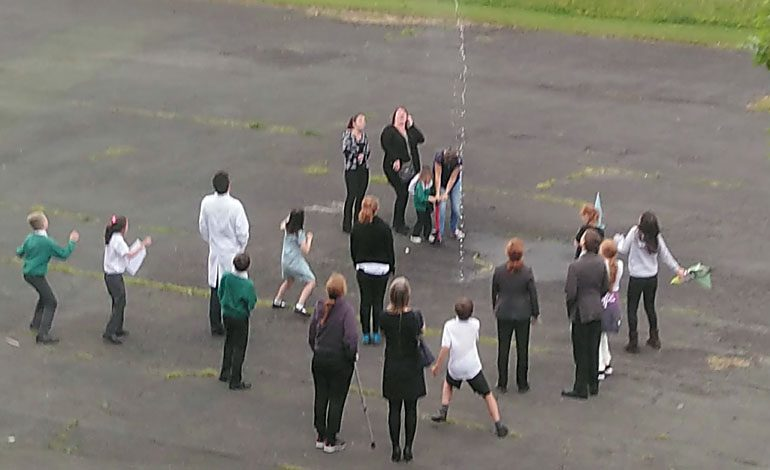Lift-off as school 'sparkies' launch rocket