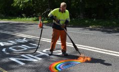 Council creates rainbow road markings to thank NHS workers