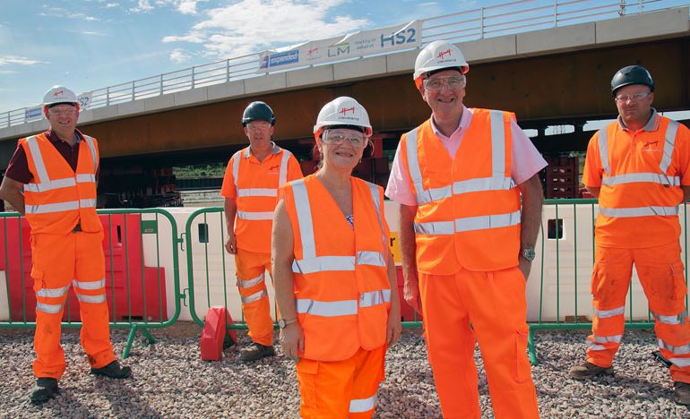 MP visits Midlands site as first HS2 structure is installed