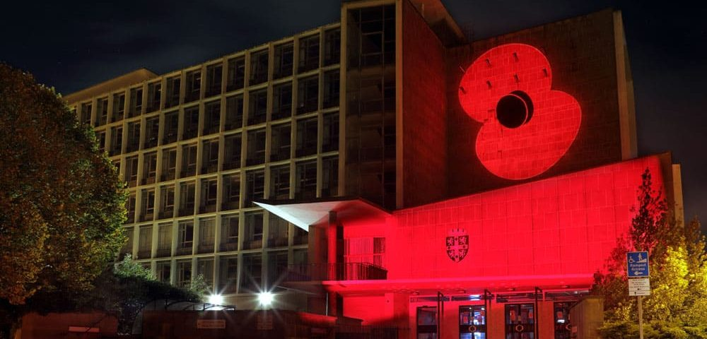 Six landmarks to be lit up to mark Remembrance Day