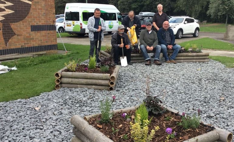 Men's Cree group completes creative garden at Greenfield