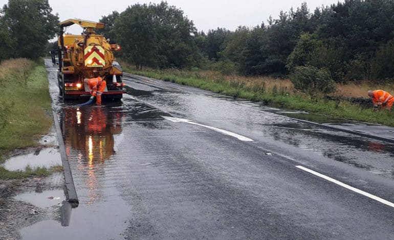 Council crews work through torrential rain to keep County Durham safe and moving