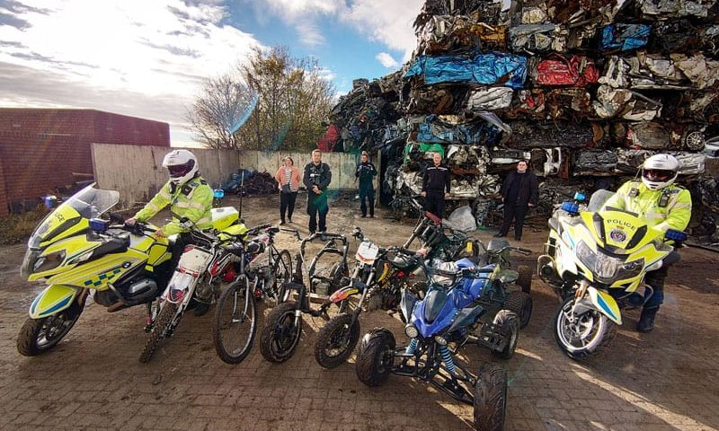 Off-road bikes crushed in crackdown on antisocial riders