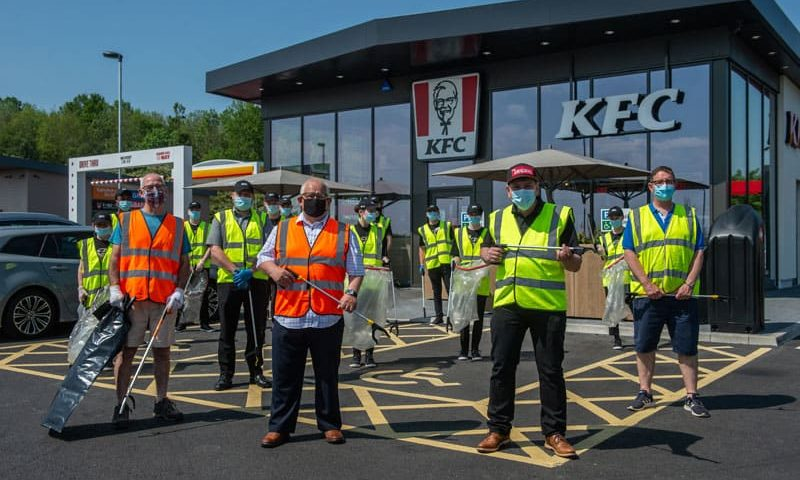 Cross-party councillors team up with KFC on litter pick