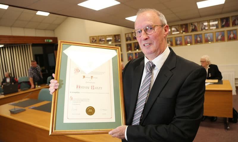 Former town clerk becomes only fourth person to be awarded Freeman of Aycliffe